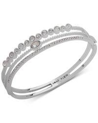 Anne Klein - Metallic Silver-tone Crystal Triple-row Bangle Bracelet, Created For Macy's - Lyst