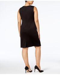 ea7baaf640 Lyst - Calvin Klein Plus Size Embellished Bodycon Scuba Dress in Black