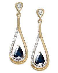 Macy's | Blue 14k Gold Necklace, Sapphire (9/10 Ct. T.w.) And Diamond (1/10 Ct. T.w.) Pear-shaped Drop Earrings | Lyst