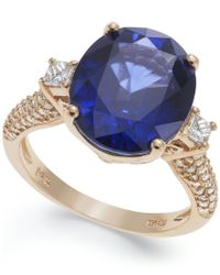 Effy Collection - Blue Velvet Bleu By Effy Manufactured Diffused Sapphire (6-3/4 Ct. T.w.) And Diamond (1/2 Ct. T.w.) Ring In 14k Rose Gold - Lyst