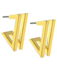 Vince Camuto | Metallic Earrings, Gold-tone Double V Hoop Earrings | Lyst