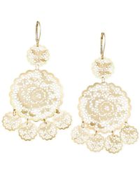 Macy's - Metallic Filigree Flower Chandelier Earrings In 14k Gold - Lyst