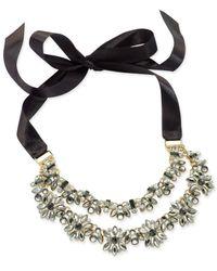 INC International Concepts - Metallic Hematite-tone Crystal Cluster Black Ribbon Choker Necklace - Lyst