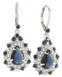 Carolee - Metallic Silver-tone Blue And Clear Crystal Teardrop Cluster Drop Earrings - Lyst