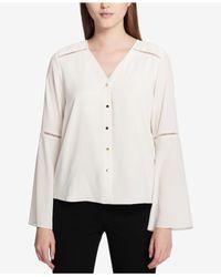 Calvin Klein - Multicolor Bell-sleeve Blouse - Lyst