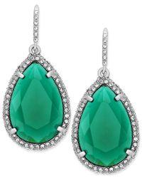 ABS By Allen Schwartz | Earrings, Silver-tone Green Stone Pave Crystal Teardrop Earrings | Lyst