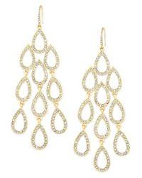 ABS By Allen Schwartz | Metallic Earrings, Gold-tone Pave Crystal Large Chandelier Earrings | Lyst