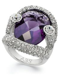 ABS By Allen Schwartz | Multicolor Ring, Silver-tone Faceted Purple Stone Pave Crystal Ring | Lyst