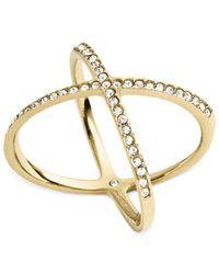 Michael Kors - Metallic Pavé Gold-tone Ring - Lyst