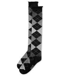 Hue | Black Women's Argyle Knee Socks | Lyst
