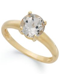 Macy's | Metallic 18k Gold Over Sterling Silver Ring, White Topaz April Birthstone Ring (1-1/2 Ct. T.w.) | Lyst