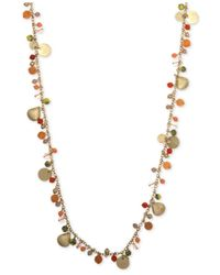 Lonna & Lilly - Pink Gold-tone Shaky Two Layer Pendant Necklace - Lyst