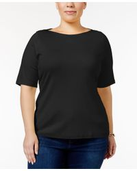 Charter Club | Black Plus Size Boat-neck T-shirt, Only At Macy's | Lyst