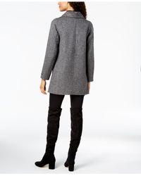 T Tahari - Gray Asymmetrical Oversize-collar Coat - Lyst