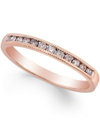 Macy's - Metallic Diamond Band Ring (1/5 Ct. T.w.) In 10k Rose Gold - Lyst