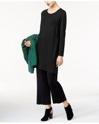 Eileen Fisher - Black Round-neck Tunic - Lyst
