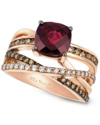 Le Vian   Multicolor Raspberry Rhodolite Garnet (2-3/4 Ct. T.w.) And Chocolate And White Diamond (3/4 Ct. T.w.) Ring In 14k Rose Gold   Lyst