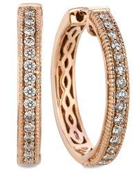 Le Vian - Pink Diamond Diamond Channel Hoop Earrings (1/2 Ct. T.w.) In 14k Rose Gold - Lyst