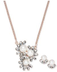Charter Club - Metallic Rose Gold-tone Imitation Pearl Pendant Necklace And Stud Earrings Set - Lyst