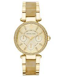 Michael Kors - Metallic Women's Chronograph Mini Parker Horn Acetate And Gold-tone Stainless Steel Bracelet Watch 33mm Mk5842 - Lyst