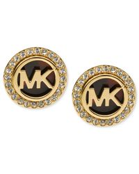 Michael Kors | Metallic Gold-tone Tortoise And Pave Logo Stud Earrings | Lyst