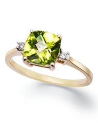 Macy's - Green 14k Gold Ring, Cushion-cut Peridot (1-5/8 Ct. T.w.) And Diamond Accent Ring - Lyst