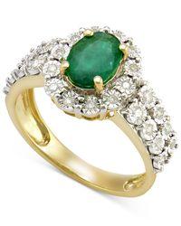 Macy's - Metallic Emerald (1 Ct. T.w.) And Diamond (1/4 Ct. T.w.) Ring In 14k Gold - Lyst