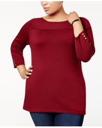 Karen Scott Red Plus Size Cotton Boat-neck Sweater, Created For Macy's