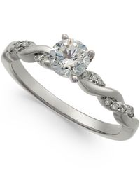 Macy's - Metallic Diamond Twist Engagement Ring (3/4 Ct. T.w.) In 14k White Gold - Lyst