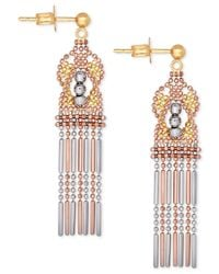 Macy's | Metallic Tri-color Ornate Beaded Drop Earrings In 14k Yellow, White And Rose Gold | Lyst