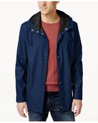Cole Haan - Blue Rubberized Hooded Jacket for Men - Lyst