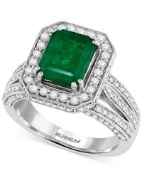 Effy Collection - Green Effy Emerald (2-1/5 Ct. T.w.) And Diamond (1-1/10 Ct. T.w.) Ring In 14k White Gold, Created For Macy's - Lyst