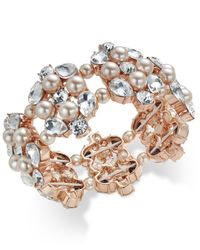 Charter Club - Rose Gold-tone Crystal And Pink Imitation Pearl Stretch Bracelet - Lyst