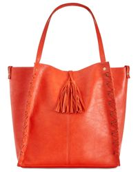 INC International Concepts - Red Venice Whipstitch Medium Tote With Removable Pouch - Lyst