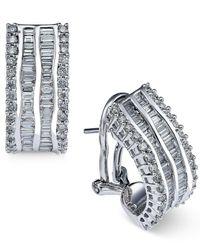 Macy's - Multicolor Diamond Hoop Earrings (1-3/8 Ct. T.w.) In 14k White Gold - Lyst