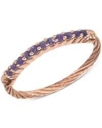 Charriol | Multicolor Women's Amethyst Crystal Rose Gold-tone Pvd Stainless Steel Cable Ring 02-222-1222-0 | Lyst