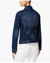 Style & Co. - Blue Petite Cross-stich Embroidered Denim Jacket - Lyst