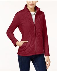 Style & Co. - Red Petite Quilted Fleece Jacket - Lyst