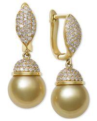 Macy's | Metallic Cultured Golden South Sea Pearl (9mm) And Diamond (5/8 Ct. T.w.) Drop Earrings In 14k Gold | Lyst
