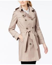 London Fog - Natural Hooded Double-breasted Trench Coat - Lyst