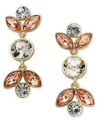 Charter Club - Metallic Gold-tone Peach & Clear Crystal Drop Earrings - Lyst