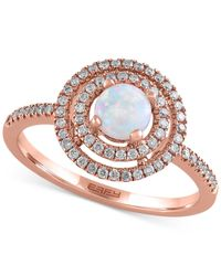 Effy Collection | Multicolor Opal (3/8 Ct. T.w.) And Diamond (1/4 Ct. T.w.) Ring In 14k Rose Gold | Lyst
