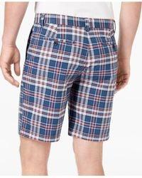 Tommy Hilfiger - Blue Men's Flat-front Plaid Shorts for Men - Lyst