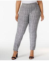 Alfani - Gray Plus Size Herringbone-print Skinny Pants - Lyst