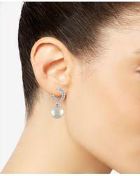 Majorica - White Sterling Silver Cubic Zirconia & Imitation Pearl Hoop Earrings - Lyst