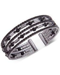 Anne Klein - Metallic Hematite-tone Jet Crystal Multi-row Cuff Bracelet - Lyst