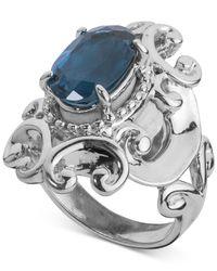 Carolyn Pollack - Metallic London Blue Topaz Filigree Statement Ring (3-1/3 Ct. T.w.) In Sterling Silver - Lyst
