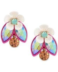 Betsey Johnson - Metallic Gold-tone Multi-stone Garden Motif Ear Jacket Earrings - Lyst