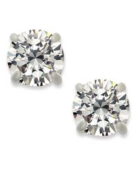 INC International Concepts - Metallic Silver-tone Round Cubic Zirconia Stud Earrings (4 Ct. T.w.) - Lyst