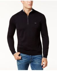 Michael Kors - Black Men's Merino Wool Quarter-zip Sweater for Men - Lyst